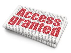 Privacy concept: Access Granted on Newspaper background - stock illustration