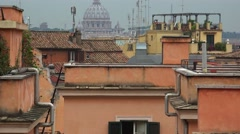 Panoramic view on the rooftops of Rome, Italy.ULTRA HD 4K, real time, zoom Stock Footage
