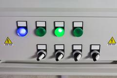 ELECTRICAL PANEL WITH SWITCHES CONTROL Stock Photos