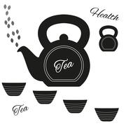 Fully vector teapot made from kettlebell with kettlebell and set of cups - stock illustration