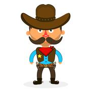 cowboy sheriff pistol - stock illustration