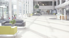 4K Interior view of large modern office building. No people.  Stock Footage