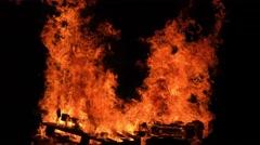 Industrial wood is burning Stock Footage