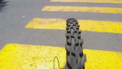 Pov riding bicycle  pass through  zebra crossing - stock footage