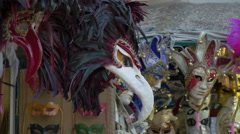 Colorful and decorated carnival masks in Venice Stock Footage