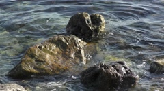 waves rocks close up movement water sea ocean - stock footage