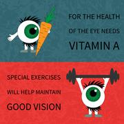 Healthy eyes. Products and sport. - stock illustration