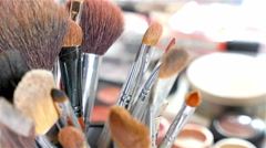 Make-up tools: brushes and color cosmetic palette - stock footage