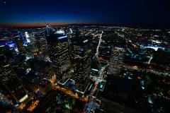 6K Time Lapse of Twilight City Lights shot on Rooftop in Downtown LA  Stock Footage
