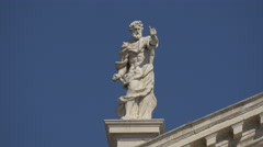 Man with beard statue on the top of Church of San Moise, Venice Stock Footage