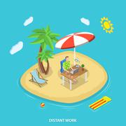 Distant work isometric flat vector concept. Stock Illustration