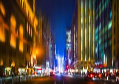 Illumination and night lights of New York City - stock photo