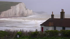 Establishing shot of the beautiful houses along the shore of the White Cliffs of Stock Footage
