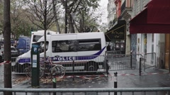 Bataclan and Police truck Stock Footage