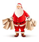 Merry Santa Claus with shopping bags buys gifts and sweets for Christmas Piirros