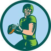 American Football QB Throwing Circle Woodcut - stock illustration