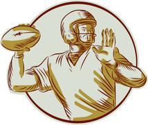 American Football QB Throwing Circle Side Etching Stock Illustration