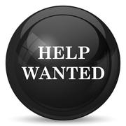 Stock Illustration of Help wanted icon. Internet button on white background..