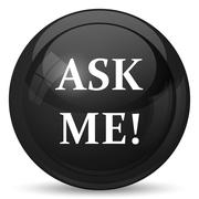 Ask me icon. Internet button on white background.. - stock illustration