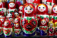 Colorful russian wooden dolls at a market Stock Photos