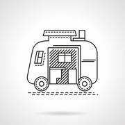 Camping trailer flat line vector icon - stock illustration