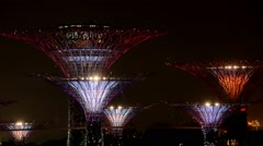 Night lights show at gardens by the bay singapore Stock Footage
