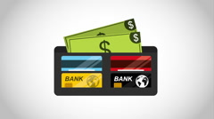 Wallet with bills design Stock Footage
