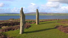 The sacred Celtic stones on the Islands of Orkney in Northern Scotland. Stock Footage