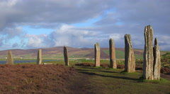 Stock Video Footage of The sacred circular Celtic stones on the Islands of Orkney in Northern Scotland.