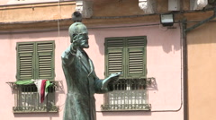 Medium shot of the statue of Giuseppe Mazzini Stock Footage