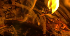 Wooden Sticks in Campfire Stock Footage