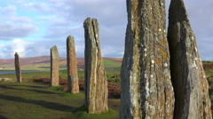 The sacred Brodgar circular Celtic stones on the Islands of Orkney in Northern Stock Footage