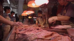 traditional fresh food market,fish selling Stock Footage