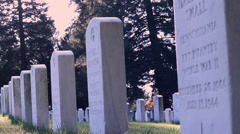 Gettysburg National Cemetery - Tombstones marking graves of civil war soldiers. Stock Footage