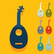 Flat design: lute - stock illustration