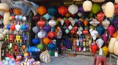 Asian handmade traditional lanterns hoi an vietnam festival colorful beautiful Stock Footage