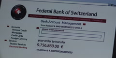 Swiss Bank Account Transfer Screen Stock Footage