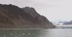 Glacier and  Arctic Mountain Range in Bay Stock Footage