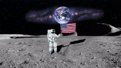 Moon as Astronaut puts America Flag in Ground with Earth and Stars, 4K  - stock footage