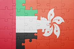Puzzle with the national flag of hong kong and united arab emirates Piirros