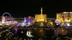 Las Vegas Bellagio Water Show - Timelapse at Night - stock footage