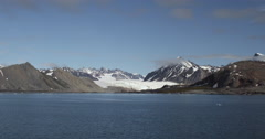 Scenic Bay and Glacier Mountains in Svalbard, Arctic Ocean Stock Footage