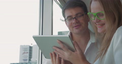 People in Glasses with Tablet PC - stock footage