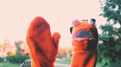 Puppet waving wave Stock Footage