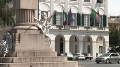 Overview from the bottom to the top of the town hall of Chiavari Stock Footage