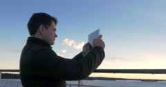 Adult Man With Tablet On Cruise Ship Stock Footage