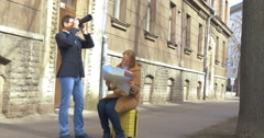 Tourists in Tallinn Searching for the Way Stock Footage