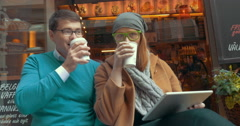 Young Friends Drinking Coffee-To-Go Outdoor Stock Footage