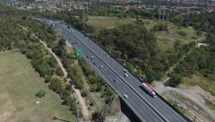 Crane up aerial of Motorway Queensland Stock Footage