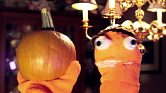 puppet with pumpkin funny comedic - stock footage